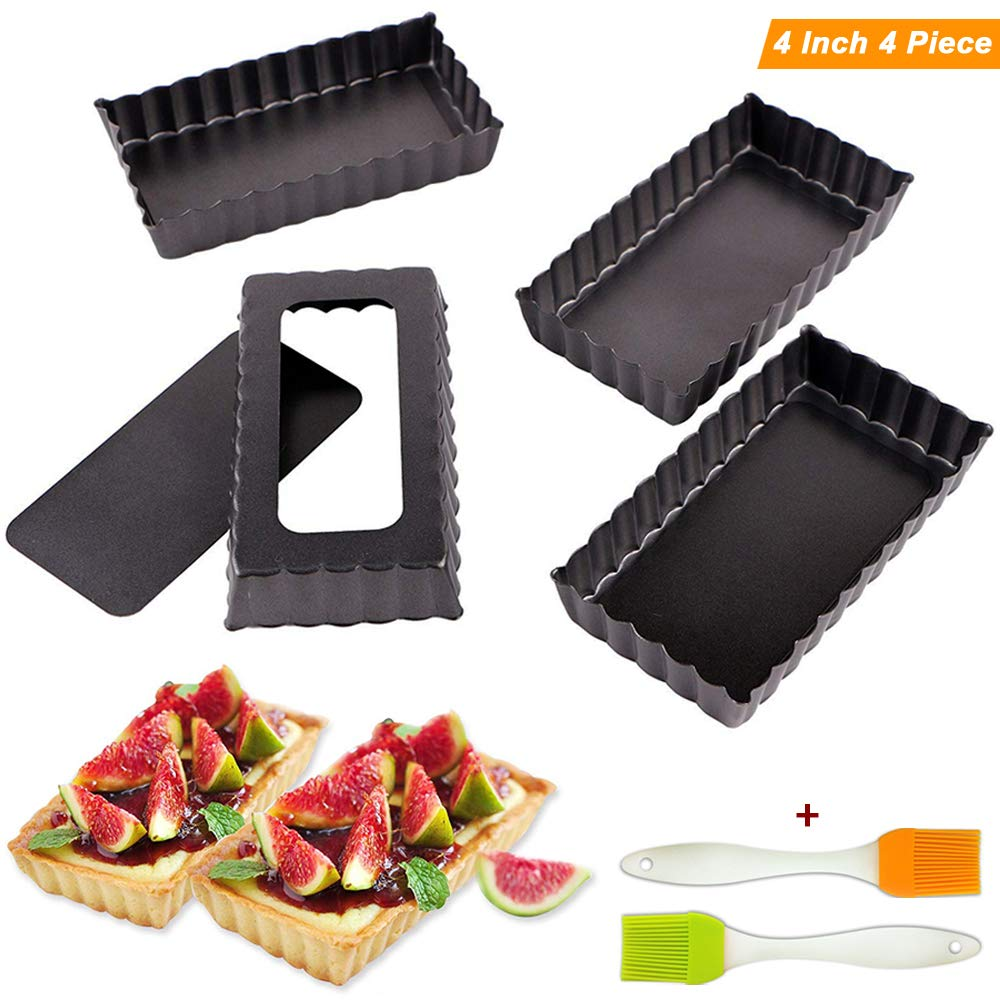 Tart Pie Pan 4 Inch Rectangular Mini Quiche Cake Pans for Baking with Removable Loose Bottom Non-stick Carbon Steel 4PCS by Fish&Fairy