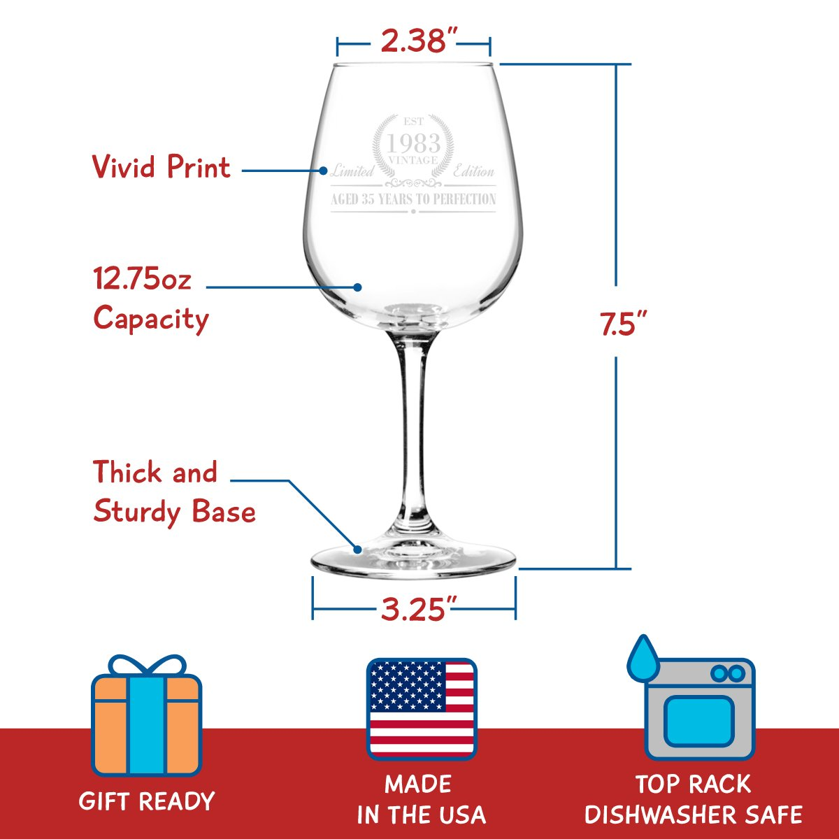 1983 Vintage Edition Birthday Wine Glass for Men and Women (35th Anniversary) 12 oz, Elegant Happy Birthday Wine Glasses for Red or White Wine | Classic Birthday Gift, Reunion Gift for Him or Her by DU VINO (Image #4)