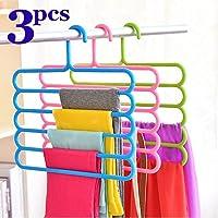 INOVERA (LABEL) 5 Layer Pants Clothes Hanger Wardrobe Storage Organiser Rack (Set of 4), 32l x 1b x 33h cm (Assorted Colour)