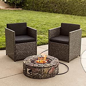 NEW BCP Stone Design Fire Pit Outdoor Home Patio Gas Firepit