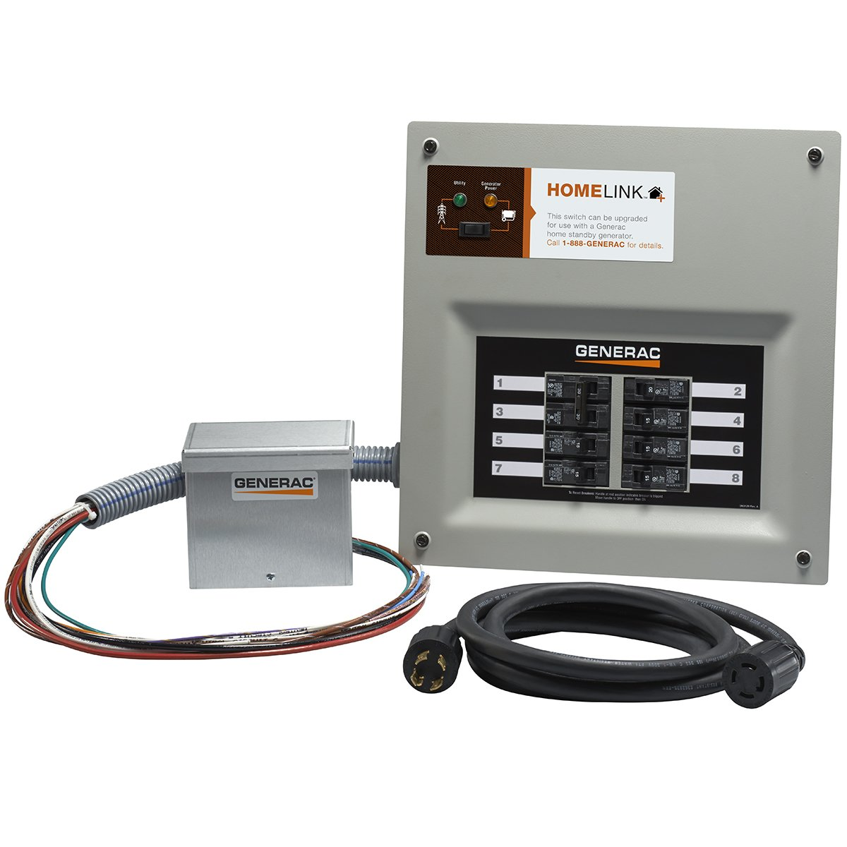 Generac 6854 Home Link Upgradeable 30 Amp Transfer Switch Kit with 10' Cord and Aluminum Power Inlet Box