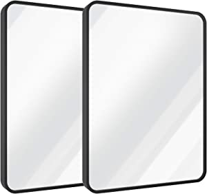 """USHOWER 24"""" x 36"""" Black Rectangle Wall Mirror, Large Metal Frame Decor Mirror for Bathroom, Entryway, Vanity, and More, Rounded Corner, Farmhouse & Modern Style, 2 Pack"""
