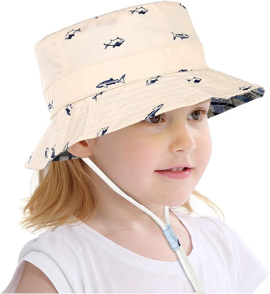 Vbiger Kids Bucket Hat Cappellino di protezione reversibile pieghevole per il sole con cinturino sottogola regolabile
