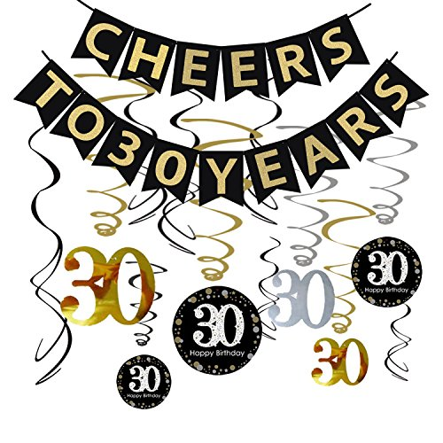 30th BIRTHDAY PARTY DECORATIONS KIT - Cheers to 30 Years Banner, Sparkling Celebration 30 Hanging Swirls, Perfect 30 Years Old Party Supplies 30th Anniversary Decorations