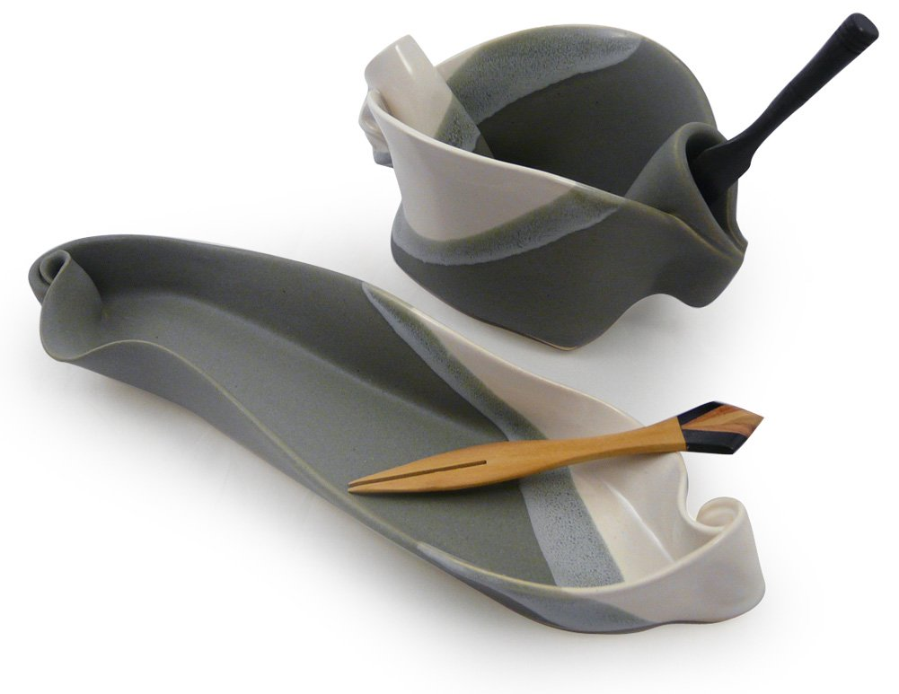Contemporary Twist 2-Piece Handmade Pottery Hors d'oeuvre Appetizer Serving Dish Set in Grey White by Hilborn Pottery (Image #1)