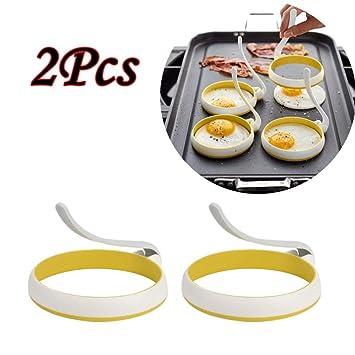 Jaminy 2pcs Antiadherente Mango de Silicona Redondo Huevo Anillos Shaper Pancakes Moldes Anillo Redondo Huevo Fried Frying Moldes Herramientas de Cocina: ...