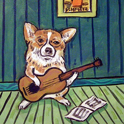 Corgi playing Guitar music room Decor dog art tile coaster gift ()