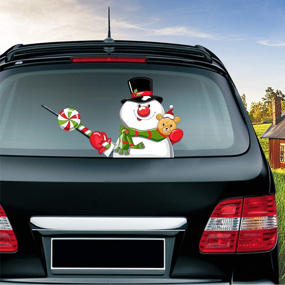 13 MIYSNEIRN Christmas Snowman with Bear Waving Wiper Decal for Rear Window 3D Cartoon Festive Car Sticker Reusable Waterproof Vinyl Decal for Vehicle Rear Wipers Christmas Decoration