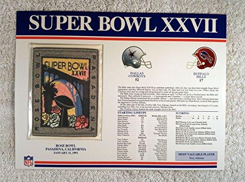 Super Bowl Xxvii  1993    Official Nfl Super Bowl Patch With Complete Statistics Card   Dallas Cowboys Vs Buffalo Bills   Troy Aikman Mvp