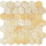 Honey Onyx 2 inch Hexagon Mosaic Tile, Polished