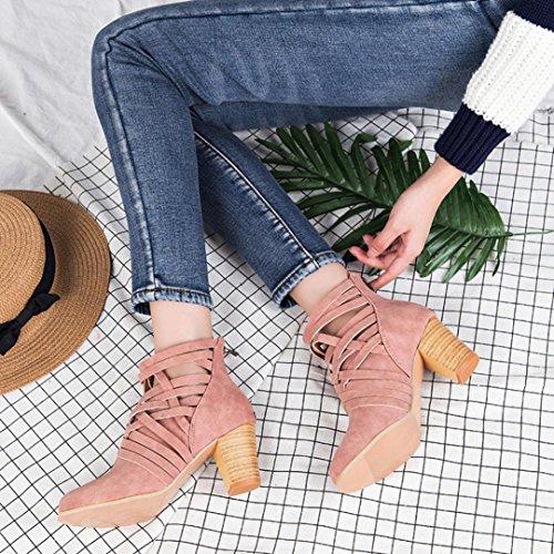 Buckle Shoes Ankle Women Biker Ankle Boots Trim Wedge AOJIAN Heeled Zip Pink high 4EzxTwRPnq