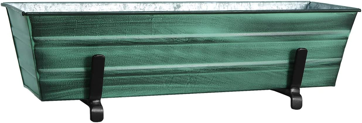 Achla Designs C08-K6 Small Green Flower 2 x 6 Railings Window Box and Brackets