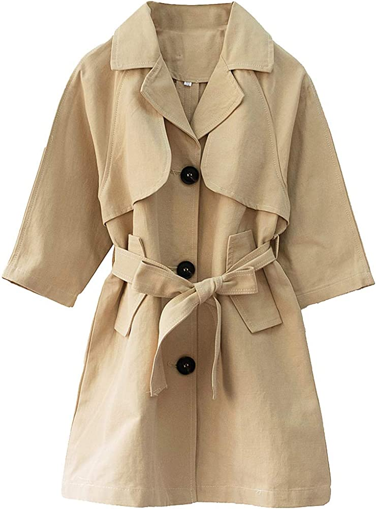 amropi Girls Trench Coat Single Breasted Windbreaker Jacket Outwear with Belt for 4-17 Years