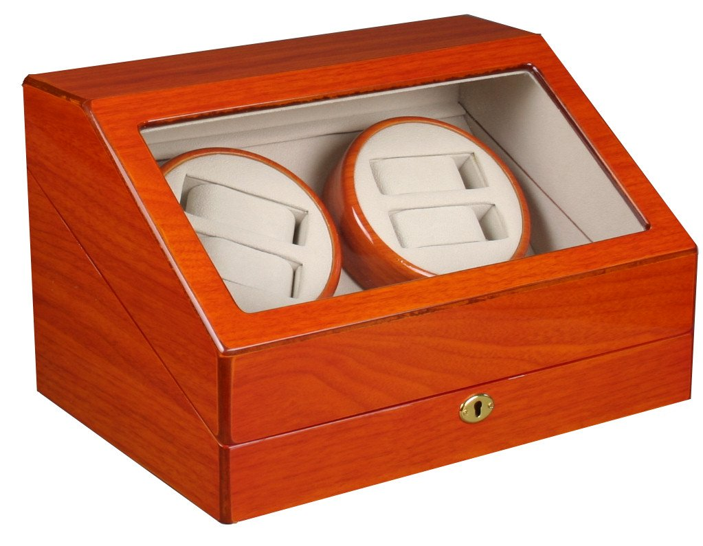 Top Quality Black Wood Quad Watch Winder (4) +12 Storage Box Case