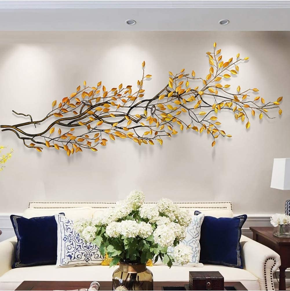 Amazon Com Three Dimensional Wealth Tree Metal Wall Decor Nature Home Art Decoration Modern Light Luxury Kitchen Gifts For Study Living Room Bedroom Artwork Hotel 20080cm
