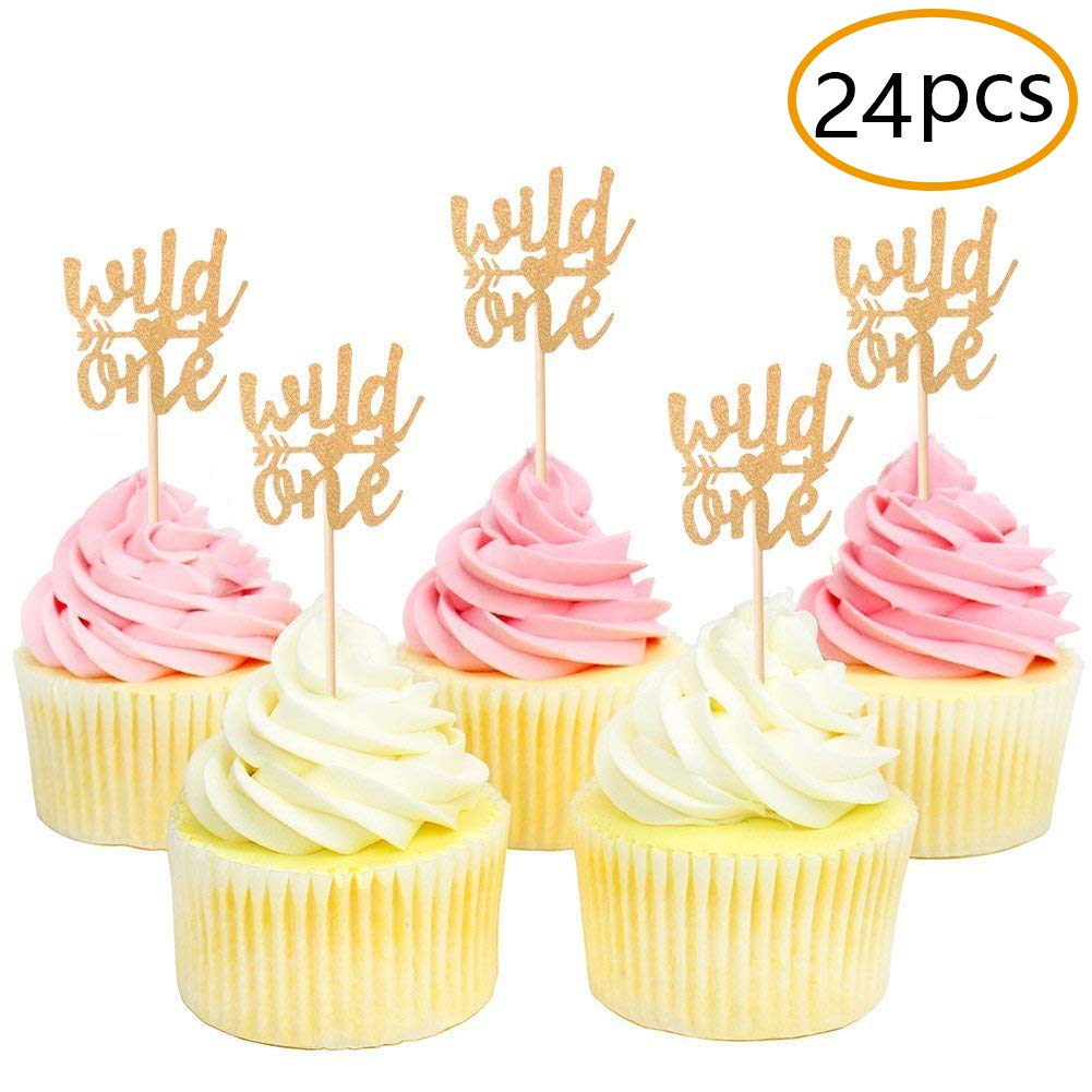 Golden Glitter Wild One Cupcake Toppers for Baby's First Birthday Party Supplies Baby Shower Decorations-24 pack