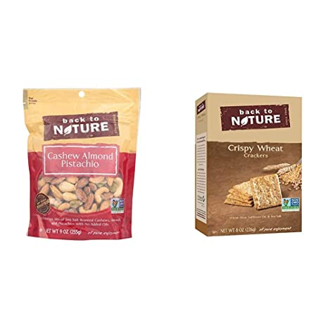 Back to Nature Trail Mix, Non-GMO Cashew Almond Pistachio Blend, 9 Ounce & Crackers, Non-GMO Crispy Wheat, 8 Ounce (Packaging May Vary)