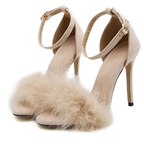 10bf7e6e58c YIBLBOX Women's Fluffy Feather Open Toe Ankle Strap Strappy Sandal Stiletto  Wedding Dress High Heel Shoes