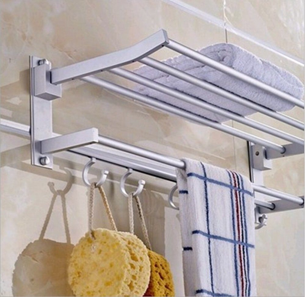 New Alumimum Double Wall Mounted Towel Rack Holder Hook Hanger Bar Shelf Rail Storage Bathroom Hotel Silver