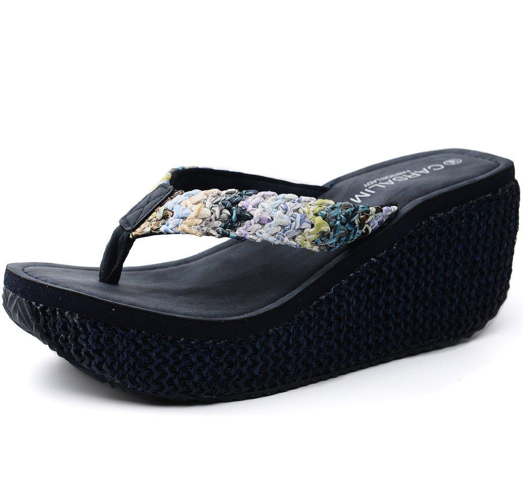 OPIYNO Women Tyra Kapa Bohemia EVA Platform Flip Flops High Heel Thong Sandals B00Y2GTXVU 5 B(M) US|Navy Blue