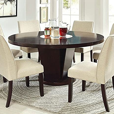 Cimma Contemporary Style Espresso Finish 7 Piece Round Dining Table Set