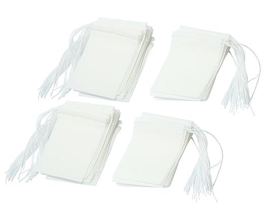 niceeshop(TM) Bolsas de Papel del Filtro de Té de Bombeo Línea de Desechable (Blanco, XS Tamaño, Conjunto de 100)