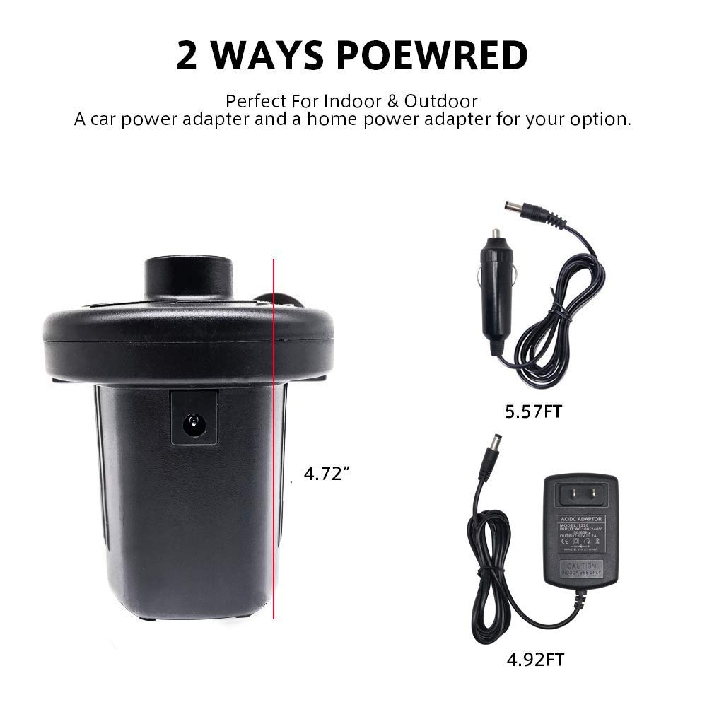 Wall Charger Telustyle Portable Electric Air Pump Quick-Fill Inflator With 3 Interconnection Nozzles for Balloon Air Mattress Bed Raft Pool Toy Outdoor Camping Inflatable Cushions Boats Swimming Ring