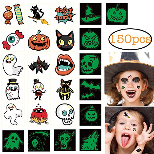 150pcs Assorted Halloween Tattoos, 26 Designs including Glow in the dark Children Temporary Tattoos