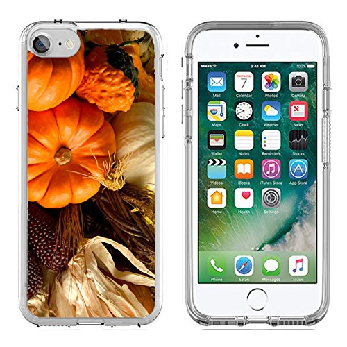 MSD Apple iPhone 7 iPhone 8 Clear case Soft TPU Rubber Silicone Bumper Snap Cases iPhone 7/8 IMAGE of orange food fall pumpkin autumn seasonal harvest season thanksgiving halloween vegetable holiday