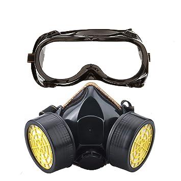 df0797a1a1478b Ewolee Masque Anti-Poussiere Protection Respirateur Chimique Industriel,  Masque Gaz Complète Contre Pollution,