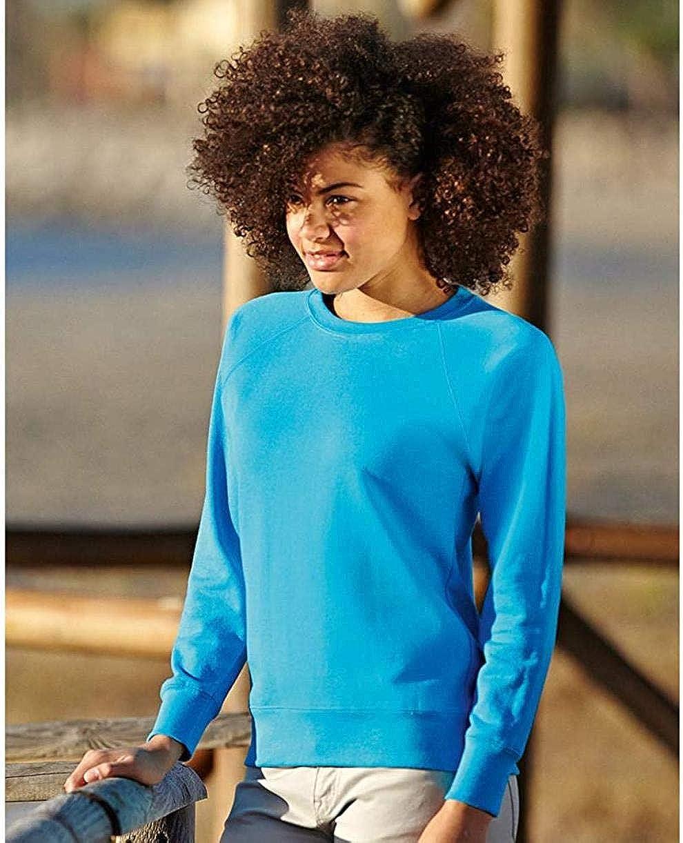 LET Ladies Fitted Leichtes Raglan Sweatshirt Azure