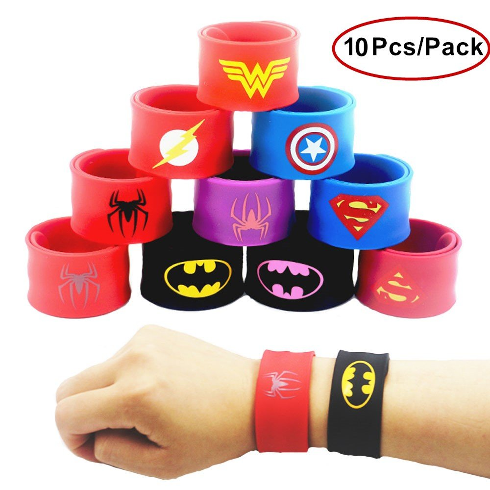 JLZK Superhero Slap Bracelets Band for Kids Boys & Girls Birthday Halloween Superhero Costume Party Supplies Favors,Toys, School Prize