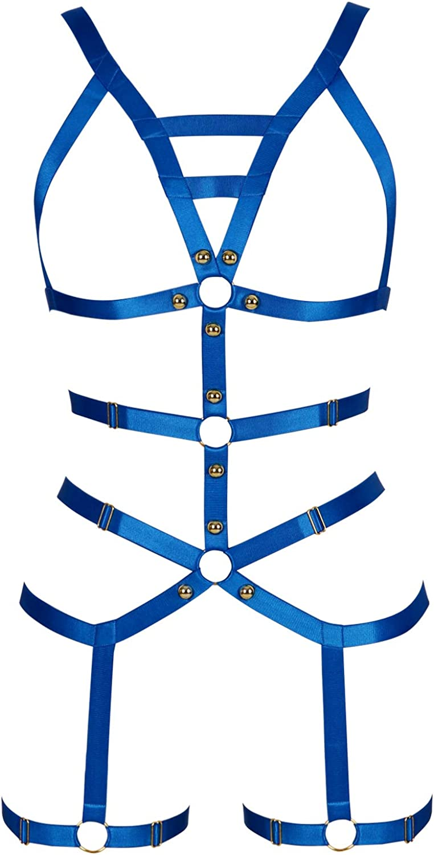 Womens Body Harness Cross Crop Elastic Bandage Goth Cage BRA Straps Linger VT