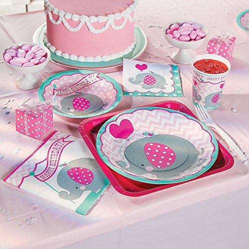Pink Elephant First Birthday Party Supplies 2 pack