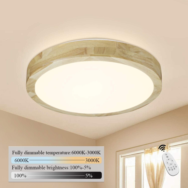 CBJKTX LED Deckenleuchte Holz Deckenlampe dimmbar mit der Fernbedienung Deckenbeleuchtung innen Wohnzimmerlampe Schlafzimmerlampe Nachttischlampe /Φ35x10cm 14W /Φ35m