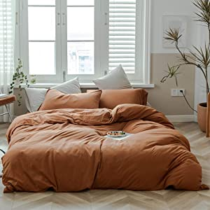 Caramel Pumpkin Duvet Cover Queen Solid Brown Bedding Set Breathable Soft Jersey Cotton Simple Bedroom Collection Easy Care Solid Color Adults Bedding Zipper Closure