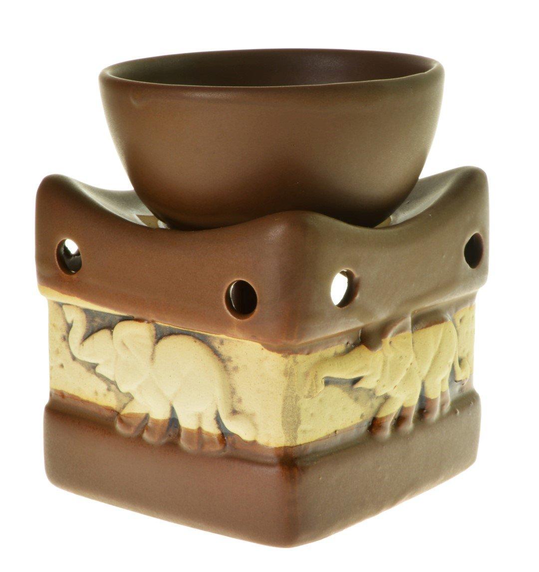 Piquaboo Rustic Ceramic Elephant Oil Burner Deep Bowl (Brown)