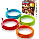 Egg Ring 4PCS Non Stick Silicone Egg Rings Pancake Mold Round Cooking Mould (Multicolor)