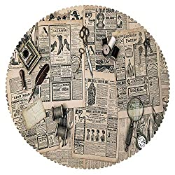 iPrint Round Tablecloth [ Clock Decor,Antique Accessories Design Old Fashion Magazine Sewing and Writing Tools,Beige and Black ] Fabric Home Tablecloth Design