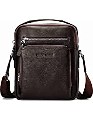 BISON DENIM Mens Retro Soft Genuine Leather Cross body Messenger Bag Satchel Laptop Shoulder Bags
