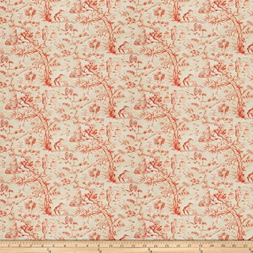 Fabricut Blitz Toile Burnt Orange - Orange Toile Fabric