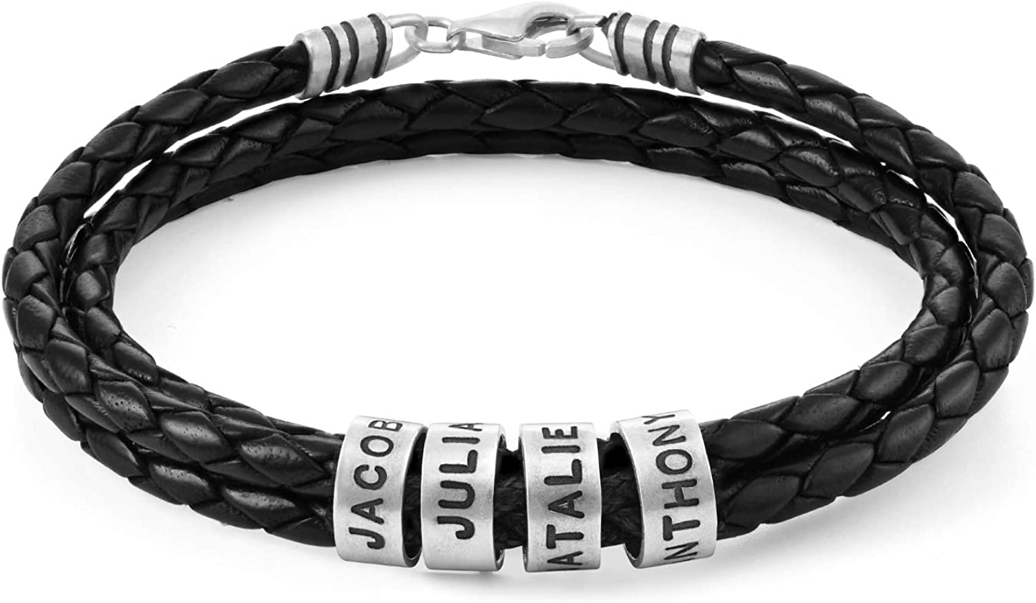 MyNameNecklace Personalized Sterling Silver Men Braid Black Bracelet with Small Custom Beads Wax or Leather- Father's Day Men Gift