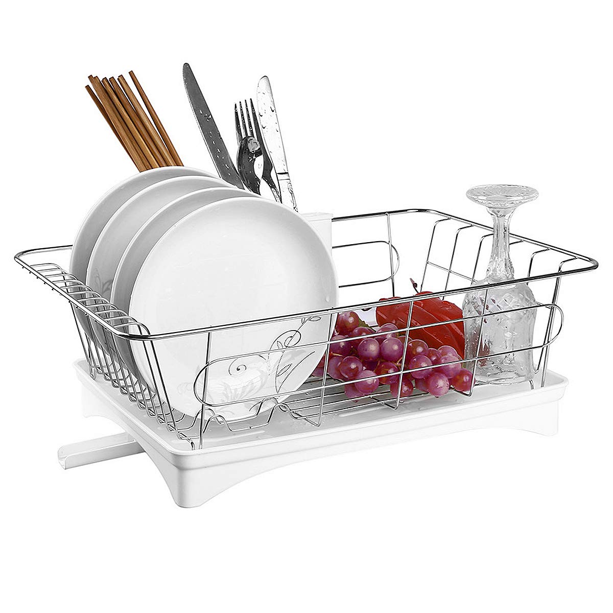 Acrux7 Kitchen Dish Drying Rack & Dish Drainer Tray with Adjustable Outlet to Sink & Spoon Holder, Stainless Steel Dish Rack/White Plastic Accessories, Kitchen Utensil Drying Rack Kit