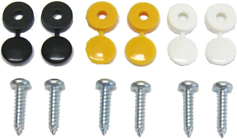 12 Piece Caps and Screws Car Number Plate Fixing Fitting Kit 3 Assorted Colours