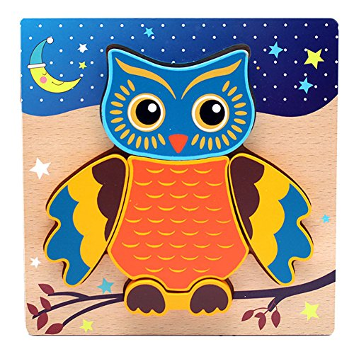 Wood Owls Children's Puzzle Shaped Wooden Peg Puzzle Toy for Kids Toddlers