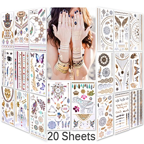 Lady Up Waterproof Metallic Temporary Tattoo 20 sheets in Gold Silver Tattoos,Shimmer Temporary Tattoos for Body Art from Lady Up