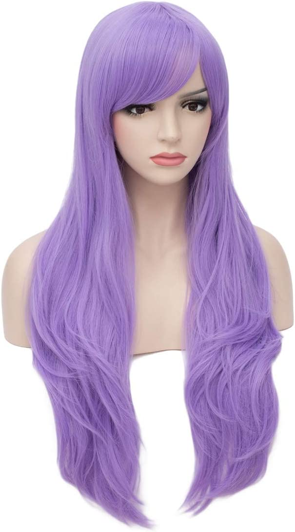Heat Friendly Cosplay Party Costume Wigs for Halloween Aosler Womens Black Long Wig,26 Inches Curly Synthetic Hair Wigs