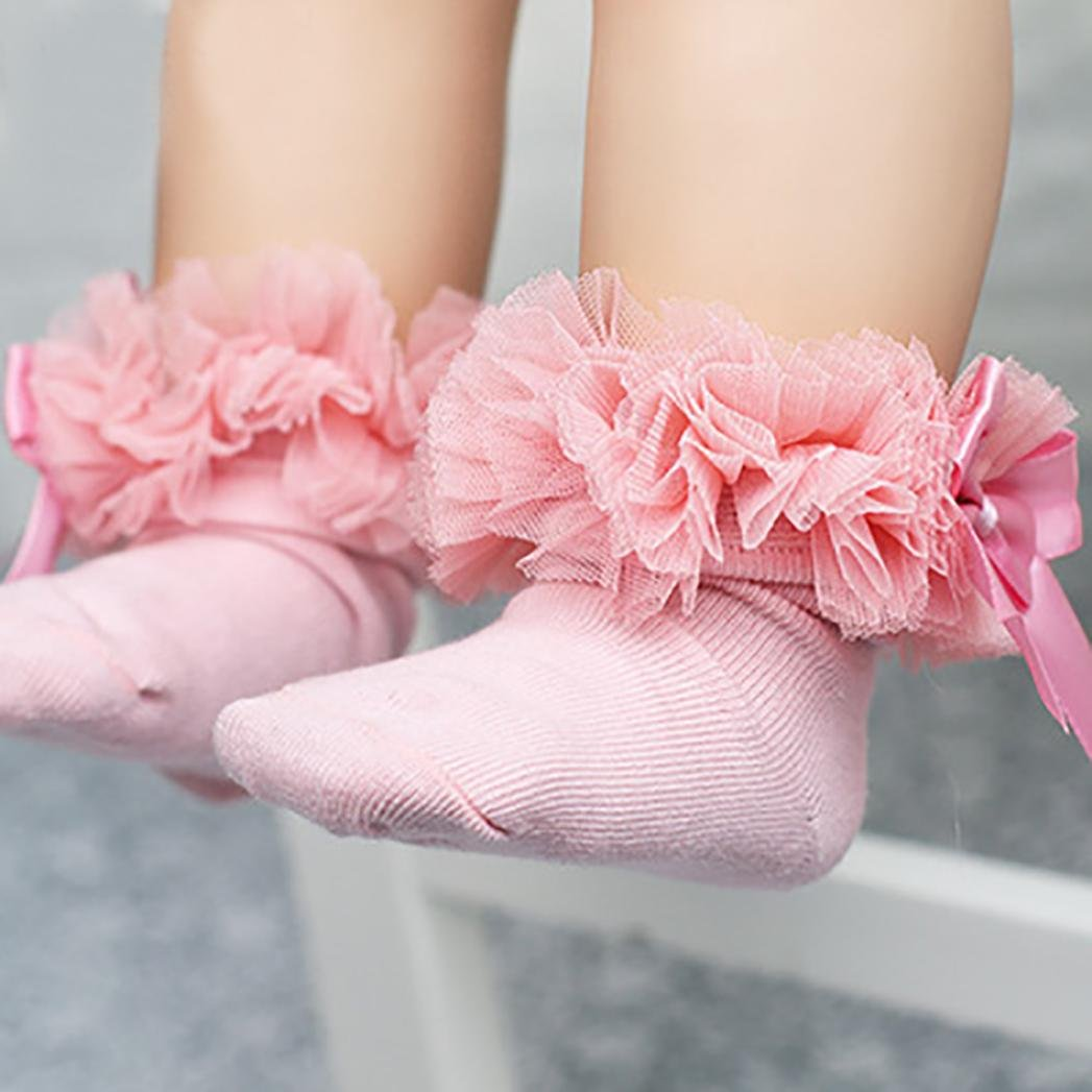 DIGOOD Suit for 0-6 Years Old Kids, Girls Princess Elegant Bowknot Lace Ruffle Frilly Trim Ankle Socks (2-4 Years Old, Pink) by DIGOOD (Image #2)