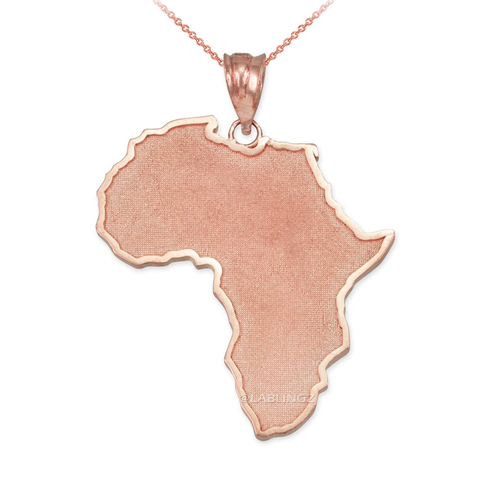 10K Rose Gold Africa Map Necklace (16.0)