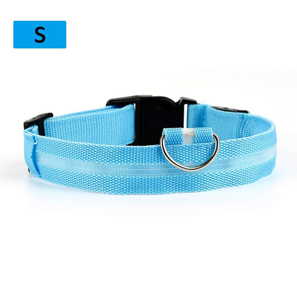 Verde AOTUO El Collar de Perro de Nylon de los Animales dom/ésticos LED Enciende para Arriba el destellar Ajustable de la Marca de la Seguridad de la Noche para el Gato del Perro Size S